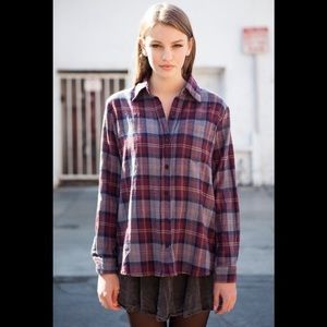 BRANDY MELVILLE Wylie Button Down Plaid Top O/S